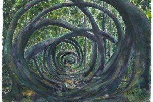 """Peinture intitulée """"Medicine Wheel"""" - """"Secret Garden"""" par Laurie Tenpas"""